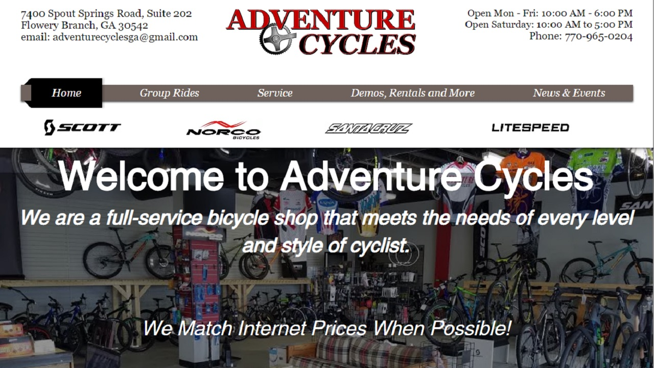 Adventure Cycles 7400 Spout Springs Road, Suite 202 Flowery Branch, GA 30542 770-965-0204
